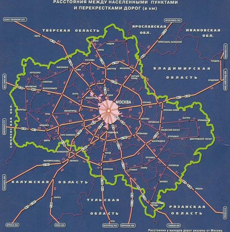 Расстояния города подмосковье
